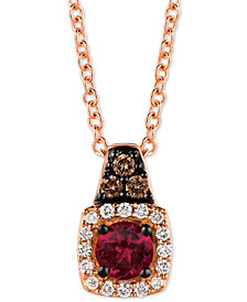 "Le Vian® Rhodolite (1/5 ct. t.w.) & Diamond (1/10 ct. t.w.) 18"" Pendant Necklace in 14k Rose Gold"
