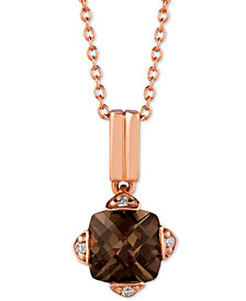 "Le Vian® Smoky Quartz (7/8 ct. t.w.) & Diamond Accent 18"" Pendant Necklace in 14k Rose Gold"