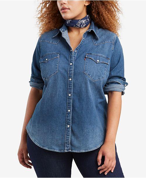 0744b28c484 Levi s Plus Size Western Snap-Front Shirt   Reviews - Tops - Plus ...