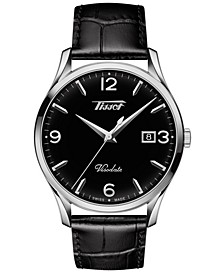 Men's Swiss Heritage Visodate Black Leather Strap Watch 40mm