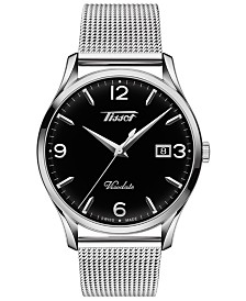 Tissot Men's Swiss Heritage Visodate Gray Stainless Steel Mesh Bracelet Watch 40mm