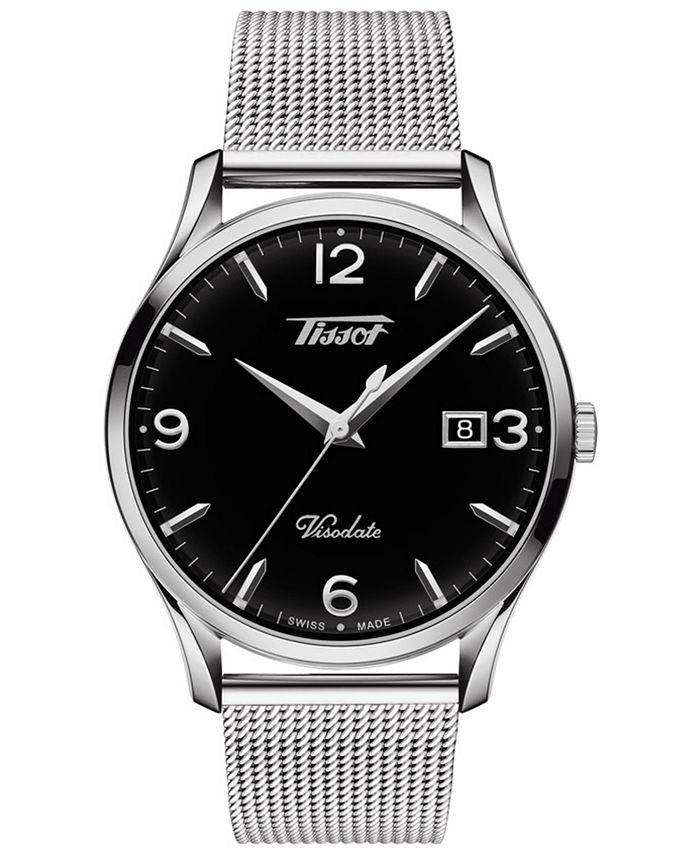 Tissot - Men's Swiss Heritage Visodate Gray Stainless Steel Mesh Bracelet Watch 40mm