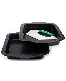 Perfect Slice 3pc Square Cake Pan Set with Tool