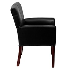 Black Leather Executive Side Reception Chair With Mahogany Legs