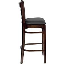 Hercules Series Ladder Back Walnut Wood Restaurant Barstool - Black Vinyl Seat