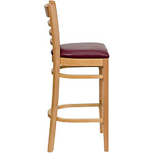 Hercules Series Ladder Back Natural Wood Restaurant Barstool - Burgundy Vinyl Seat