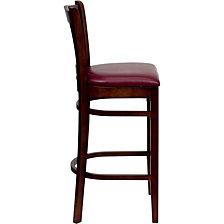 Hercules Series Vertical Slat Back Mahogany Wood Restaurant Barstool - Burgundy Vinyl Seat