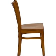 Hercules Series Ladder Back Cherry Wood Restaurant Chair