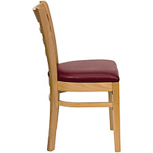 Hercules Series Ladder Back Natural Wood Restaurant Chair - Burgundy Vinyl Seat