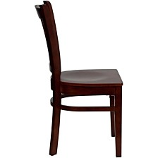Hercules Series Vertical Slat Back Mahogany Wood Restaurant Chair
