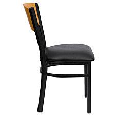 Hercules Series Black Circle Back Metal Restaurant Chair - Natural Wood Back, Black Vinyl Seat