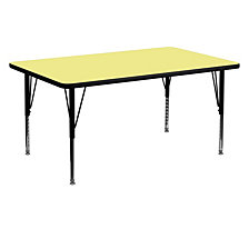30''W X 60''L Rectangular Yellow Thermal Laminate Activity Table - Height Adjustable Short Legs