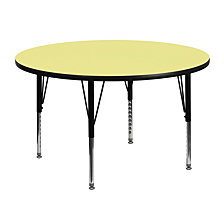 48'' Round Yellow Thermal Laminate Activity Table - Height Adjustable Short Legs