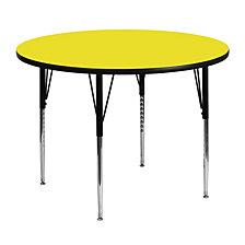 48'' Round Yellow Hp Laminate Activity Table - Standard Height Adjustable Legs