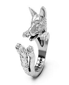 German Shepherd Hug Ring in Sterling Silver
