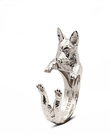 Welsh Corgi Hug Ring in Sterling Silver