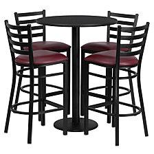 30'' Round Black Laminate Table Set With 4 Ladder Back Metal Barstools - Burgundy Vinyl Seat