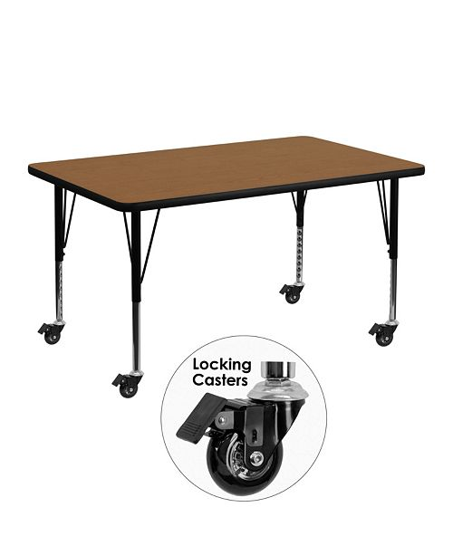 Flash Furniture Mobile 30''W X 48''L Rectangular Oak Thermal Laminate Activity Table - Height Adjustable Short Legs