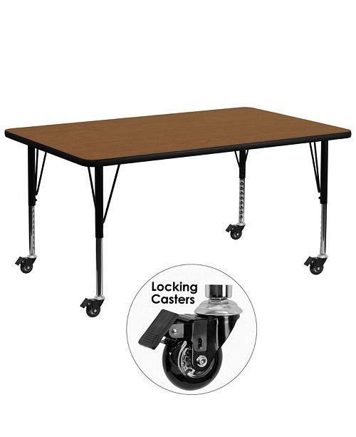 Flash Furniture Mobile 30''W X 72''L Rectangular Oak Hp Laminate Activity Table - Height Adjustable Short Legs