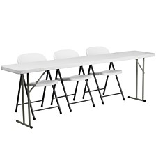 18'' X 96'' Plastic Folding Training Table Set With 3 White Plastic Folding Chairs