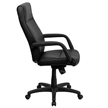 High Back Black Leather Executive Swivel Chair With Memory Foam Padding With Arms