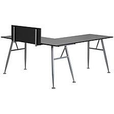 Black Laminate L-Shape Computer Desk With Silver Metal Frame