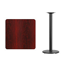 30'' Square Mahogany Laminate Table Top With 18'' Round Bar Height Table Base