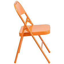 Hercules Colorburst Series Orange Marmalade Triple Braced & Double-Hinged Metal Folding Chair