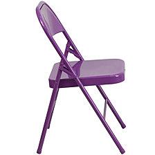 Hercules Colorburst Series Impulsive Purple Triple Braced & Double-Hinged Metal Folding Chair