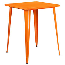 31.5'' Square Orange Metal Indoor-Outdoor Bar Height Table