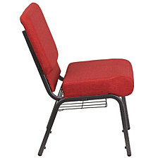 Hercules Series 21''W Church Chair In Crimson Fabric With Cup Book Rack - Silver Vein Frame