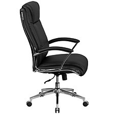 High Back Designer Black Leather Executive Swivel Chair With Chrome Base And Arms