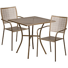 28'' Square Gold Indoor-Outdoor Steel Patio Table Set With 2 Square Back Chairs