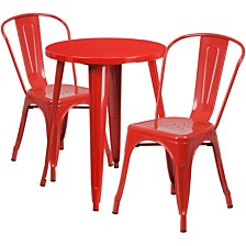 24'' Round Red Metal Indoor-Outdoor Table Set With 2 Cafe Chairs