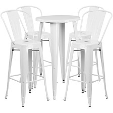 24'' Round White Metal Indoor-Outdoor Bar Table Set With 4 Cafe Stools