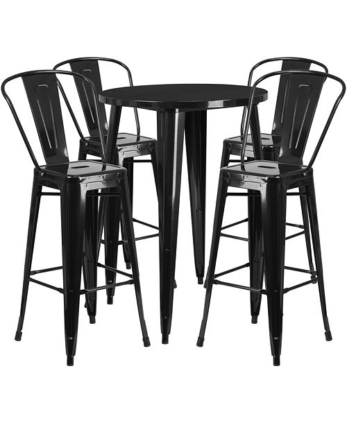 Superb 30 Round Black Metal Indoor Outdoor Bar Table Set With 4 Cafe Stools Spiritservingveterans Wood Chair Design Ideas Spiritservingveteransorg