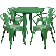 30'' Round Green Metal Indoor-Outdoor Table Set With 4 Arm Chairs
