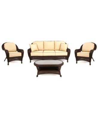 monterey outdoor wicker 4pc seating set 1 sofa 2 club chairs