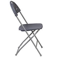 Hercules Series 650 Lb. Capacity Charcoal Plastic Fan Back Folding Chair