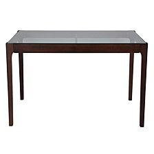 """Everett 31.5"""" X 47.5"""" Rectangular Solid Walnut Wood Table With Clear Glass Top And Exposed Industrial Hardware"""