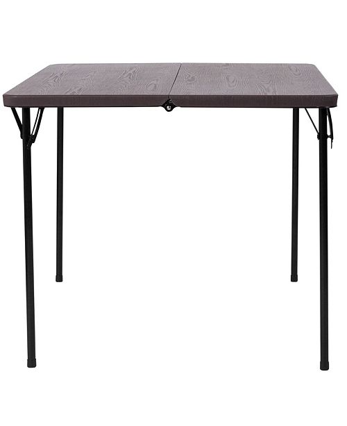 Folding Table With Handle.34 Square Bi Fold Brown Wood Grain Plastic Folding Table With Carrying Handle