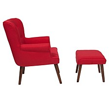 Bayton Upholstered Wingback Chair With Ottoman In Red Fabric