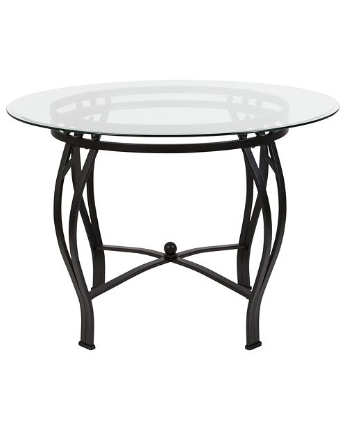 Flash Furniture Syracuse 42'' Round Glass Dining Table With Black Metal Frame