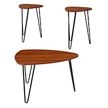 Charlestown Collection 3 Piece Coffee And End Table Set In Cherry Wood Grain Finish And Black Metal Legs