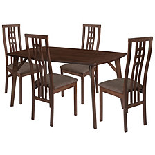 Halstead 5 Piece Walnut Wood Dining Table Set With High Triple Window Pane Back Wood Dining Chairs - Padded Seats