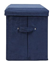 Seat Pad Folding Storage Ottoman. Micro Suede Cover