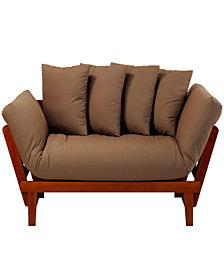 Casual Lounger Sofa Bed Oak Frame With Khaki Fabric