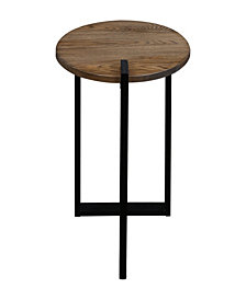 Sundial Contemporary Round End Table with Solid Red Oak Top