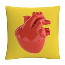 """ABC Modern 3D Red Heart Decorative Pillow, 16"""" x 16"""""""