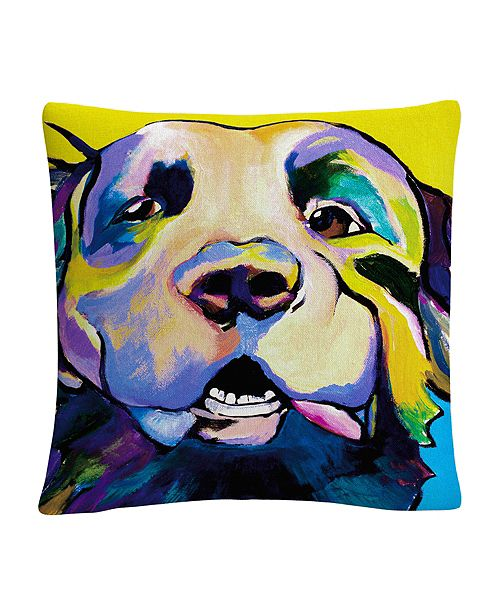 """Baldwin Dog Park Gigolo Animals Pets Painting Bold 16x16"""" Decorative Throw Pillow by Pat Saunders-White"""